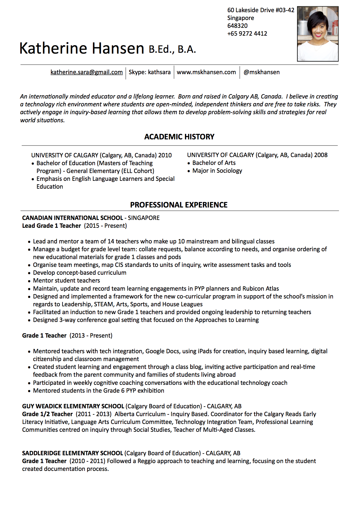Resume – Ms. K Hansen
