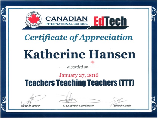 TeachersTeachingTeachersPresenterCertificate Jan2016